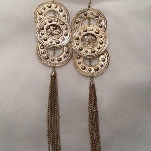 Jewelry - Triple Circle Goldtone Tassel Earrings